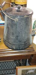 Large Enamelware Speckled Gray Cowboy Coffee Pot