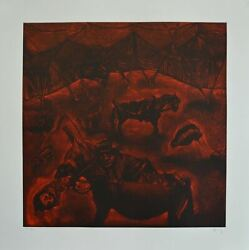 Mexican Art Master Sergio Hernandez Hand Signed Original Etching Ld Edition N92