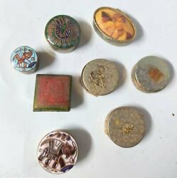 Copper Boxes Handcrafted Antique Brass Fitted Small Jewelry Ring Box Lot Of 8