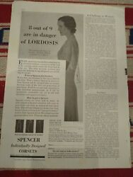 1931 Spencer Corset Partial Page Lingerie Ad Helps Prevent Lordosis