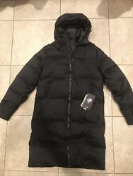 Mens 1346321 001 Under Armour Black Hooded Winter Down Jacket Parka Coat Small
