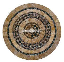 Marble Coffee Table Top Mosaic Precious Stone Inlay Halloween Garden Decor H4023