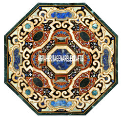 Traditional Marble Garden Table Antique Scagliola Inlay Furniture Deco H3860