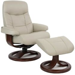 Poway San Diego Fjords Muldal Large Recliner Chair Leather - Walnut Wood Stain