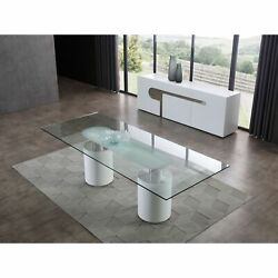 Mandarin Dining Table, 12mm Clear Tempered Glass Top, Polished Stainless Stee...