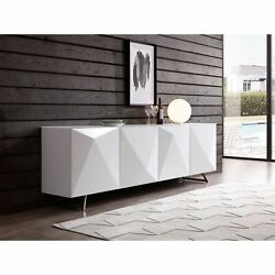 Samantha Buffet, 5mm Crystal Pure Tempered White Glass Top,