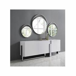 Blake Buffet 5mm Tempered Crystal Frosted Glass Top Matte White Polished Stai...