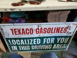 1960and039s Heavy Old Texaco Gasoline Motor Oil Station Metal Sign 42 X22.5