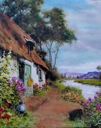 Masterpiece Bayou Cottage Hand Painted Oil On Canvas By Guy Foster