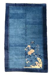 Antique Handwoven Authentic Chinese Blue Rug Size 4x6and0397 Circa 1900s