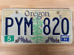 Single Oregon License Plate 1991 Pym 820 Collectable Light Green Tree Tan Sky