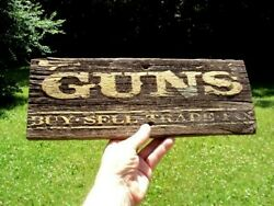 Early Rare Guns Wood Trade Sign Western Antique Advertising Saloon Gunfighter