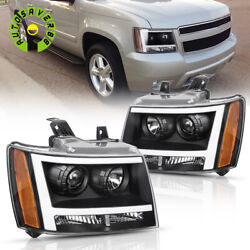 Black Headlights Assembly For 2007-2014 Chevy Avalanche/suburban/tahoe + Led Drl