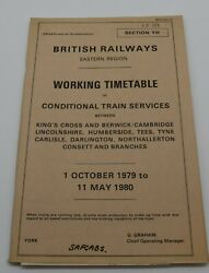 Br Eastern Region Railway Working Time Table Of Conditional Train Services 1979