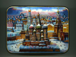 Russian Lacquer Box. Moscow. St. Basil's Cathedral. Hand Painted.