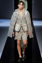 Emporio Armani Leather Trench Coat Eu48 Medium Rrp Andpound1530 Grey Of Wales
