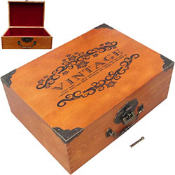 Creation Core 13.0x9.4x4.7 Wooden Treasure Box Trunk Box Stash Boxes For And