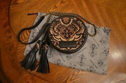 Isabella Fiore Small Round Tapestry and Leather Cross body with Bronze Hardware