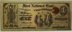 1875 Original Lebanon 1 National Currency Novelty 24k Gold Plated Note 6 Lg373