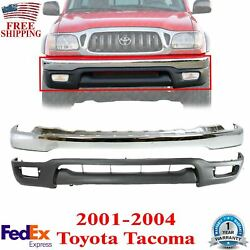 Front Bumper Chrome + Lower Valance Primed For 2001-2004 Toyota Tacoma
