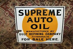 1920-30s Gulf Oil Supreme Auto Oil Double Sided Porcelain Flange Sign