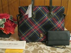 NWT Dooney amp; Bourke Black amp; Red Tartan Plaid Large XLarge Victoria Tote Gift $135.00
