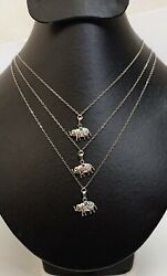 Silver Ruby Sapphire And Emerald Elephant Charm Chain Necklaces Christmas Gift