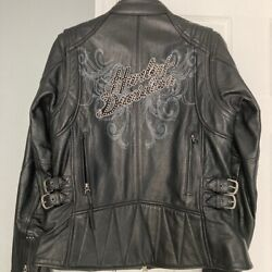 ⭐⭐mint Harley Davidson Womens Eclipse Leather Hd Bling Riding Jacket Medium