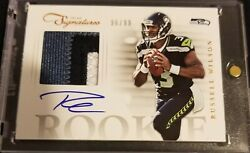 2012 Prime Signatures Russell Wilson 3 Clr Patch On Card Auto Rc 'd 96/99 Mvp