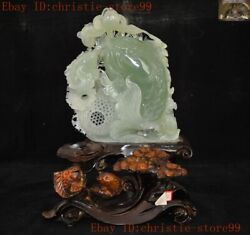 China Natural Xiu Jade Green Jadeite Carved Feng Shui Wealth Lucky Fish Statue