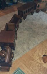 Large Handmade Wood Train By Paul March,pawtucket,r I. Made In Vermont. 9 Ft.