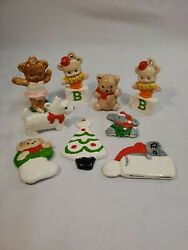 9 Vintage Hand Painted Ceramic Ornaments Christmas Tree Mouse Bears Dog Hat RARE