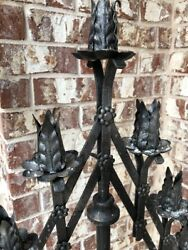 Vintage Pair Large Gothic Tole Candelabra, Adjustable Heavy Cast Iron Bases Wow