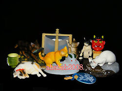 Yujin the Cat Japan Kitten figure eating amp; drinking gashapon full set 6 pcs