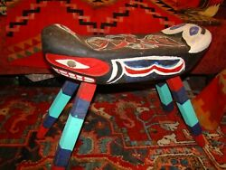 NATIVE AMERICAN PACIFIC NORTHWEST CARVED AND PAINTED STOOL Bench Totem $195.00