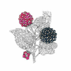 Christmas 1.10ct Natural Round Diamond Ruby Sapphire 14k White Gold Brooch Pin
