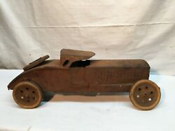 Antique Dayton Pressed Steel Rat Rod Rusty Race Car Race Of Gentelmen Toy Car