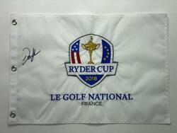 Dustin Johnson Signed Autograph 2018 Ryder Cup Pin Flag - 2020 Masters Champion