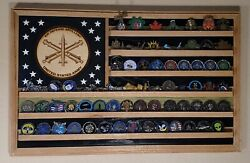 Us Army Air Defense Artillery Challenge Coin Display Flag Solid Hardwood Flg-4
