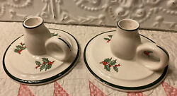 Vintage Pair Ceramic Candle Sticks With Handle Cuthbertson England Christmas