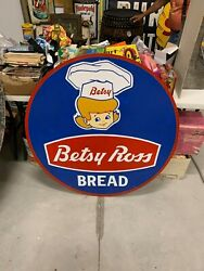 Large Betsy Ross Bread Painted Wooden Sign Gas Oil Soda Cola