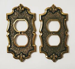2 Vintage Amerock Sa Brass Finish Metal Hollywood Regency Double Outlet Covers