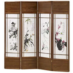 4 Panels Room Divider With Asian Floral Paintings
