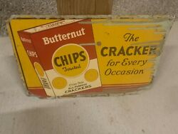 Vintage Rare Butternut Chips Crackers Metal Sign Gas Oil Soda Cola