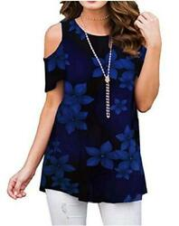 Nimsruc Cold Shoulder Women Tops Casual Tunic Top Loose 1blue Size X Large TMs $13.25