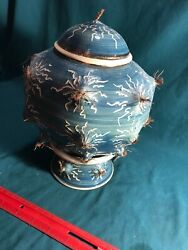 7-1/2 Pottery Lightning Jar W/ Lid And Stand Unique