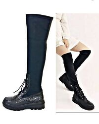 Free People Shoreditch Croc Knee High Combat Boot Is Womenandrsquos 8