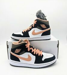 2021 Jordan 1 Mid Peach Mocha Womenand039s Dh0210-100 - 100 Authentic And Deadstock