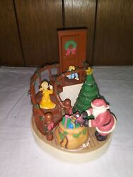 """Vtg House Of Lloyd Spinning Music Box """"santa Claus Is Coming To Town"""" Porcelain"""
