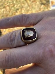 Late 1800's Yellow Gold Signet Ring With English Family Crest.